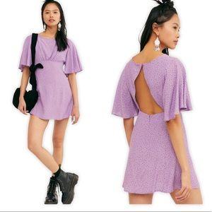 Free People Purple Tootsie Mini Flutter Dress XS